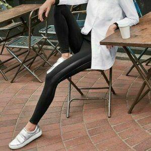 Athleta Black Tux Metro Side Faux Leather Stripe S
